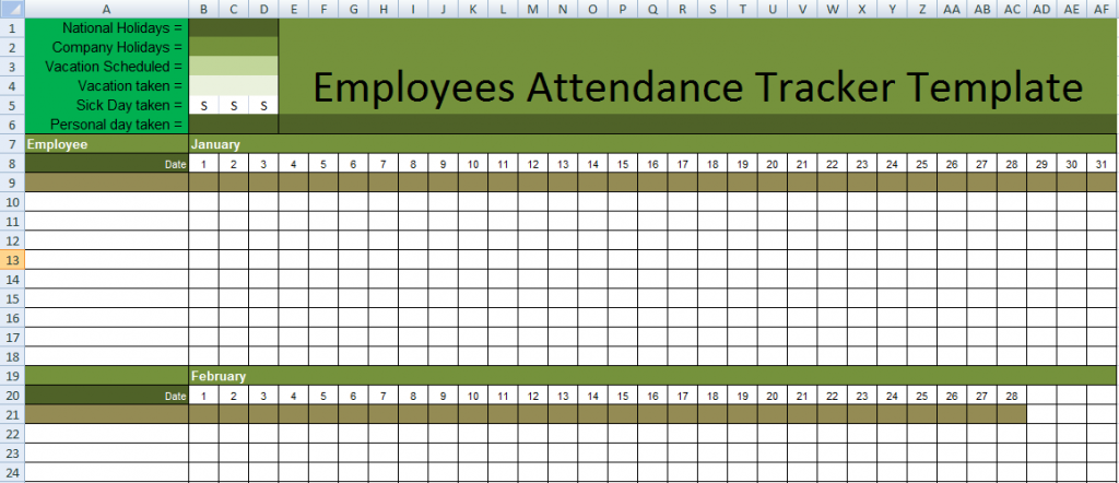 Daily Employee Attendance Tracking Spreadsheet In Excel