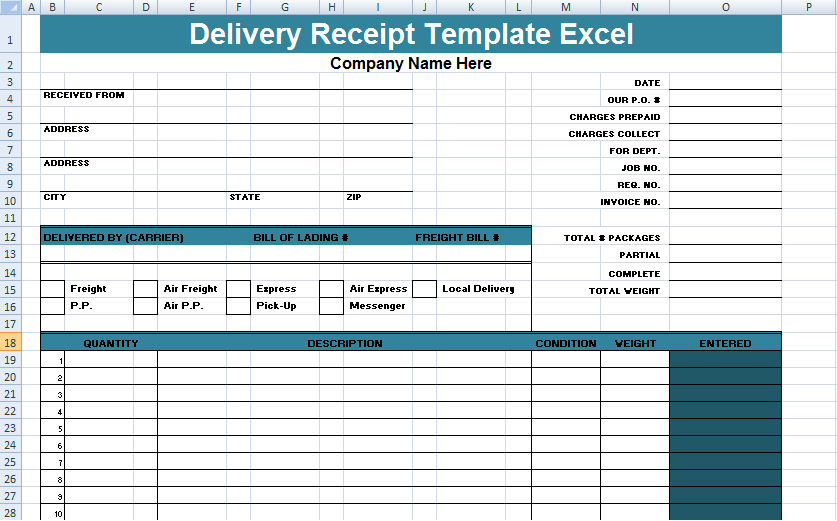 Delivery Receipt Template Excel Format Spreadsheettemple