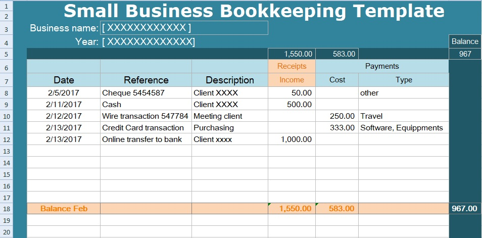 small business bookkeeping template spreadsheet