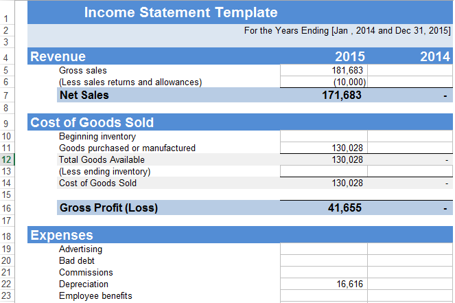 income statement template excel free