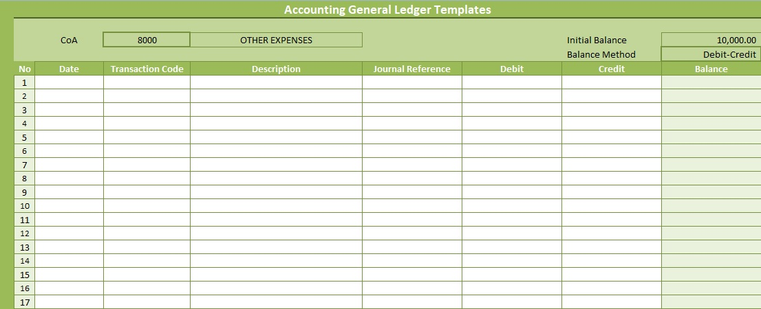 Accounting General Ledger Templates Free Excel Spreadsheet