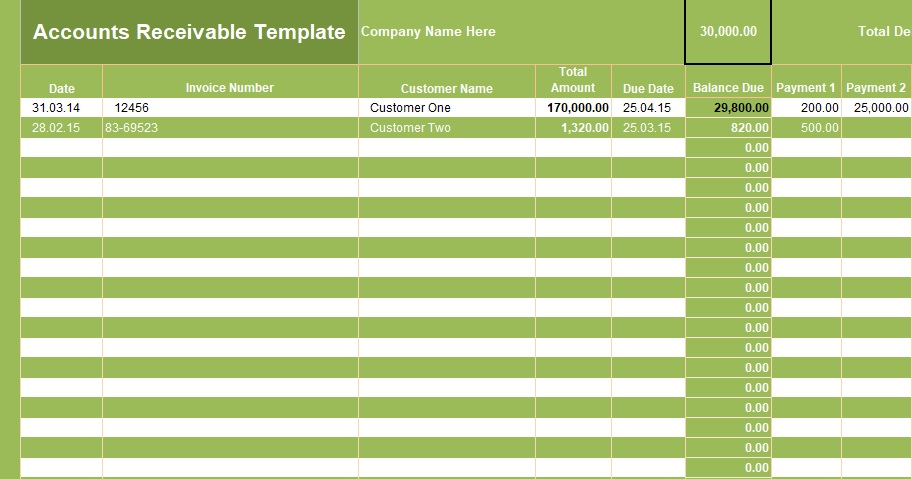 Get Accounts Receivable Template Excel Spreadsheet Templates