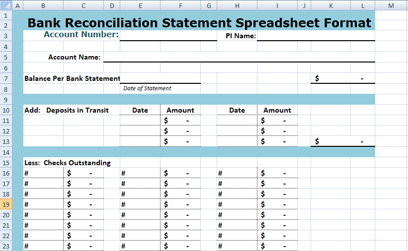 Bank Reconciliation Statement Spreadsheet