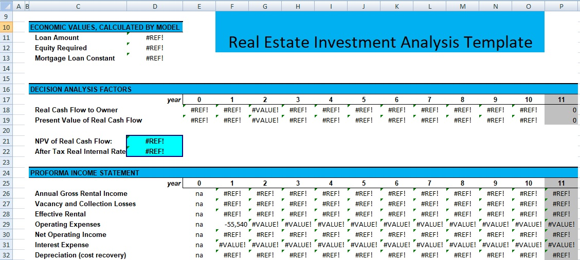 Real Estate Investment Analysis Template Excel Spreadsheet Templates