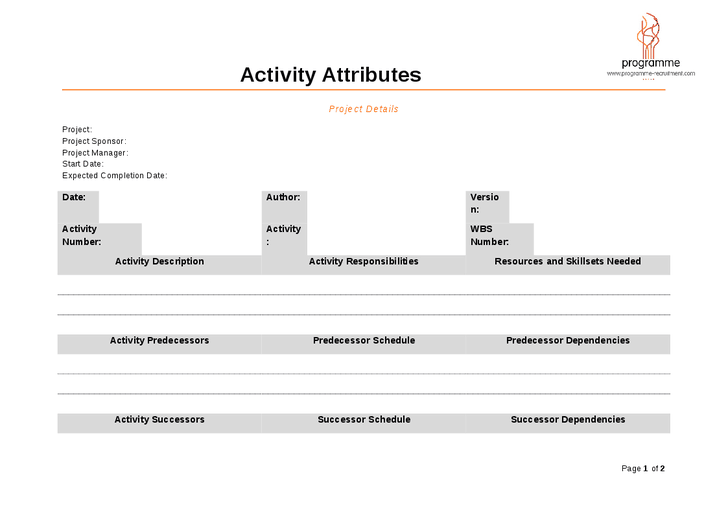 Activity Attributes Template