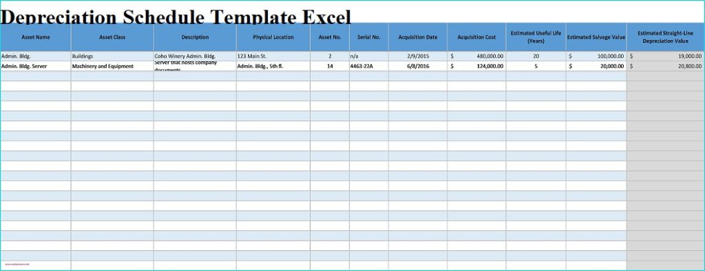 Depreciation Schedule Template Excel
